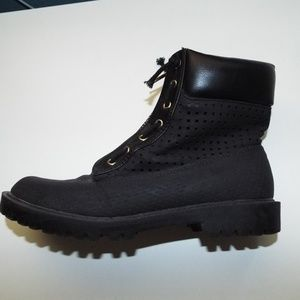 Black Combat Boots with Gold Zipper